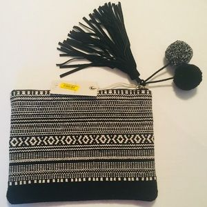 Lucky Brand Black & Ivory Material Pouch